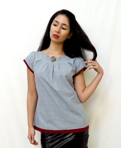 Vintage Inspired Blouse Reversible Pleated Top by ReverseClothing. $61.00, via Etsy.