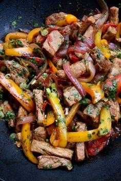 Pork lomo saltado - Peruvian inspired pork stir fry