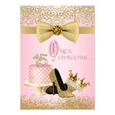 Pink Birthday Invitations Pink and Gold Quinceanera Princess Birthday Card Quinceanera Invitations, Quinceanera Party, Pink Invitations, Birthday Party Invitations, Quinceanera Decorations, Quinceanera Dresses, Quince Invitations, Quinceanera Planning, Invitation Kits