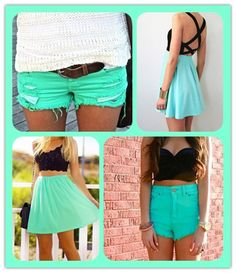 #turquoise #shorts & #skirts great summer looks!