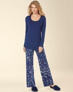 Soma Intimates Embraceable Cool Nights Long Sleeve Pajama Pant Set Twinkle Medievel #somaintimates