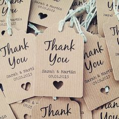 16 Thank You Wedding Favour Tags Thank you by LittleIndieStudio