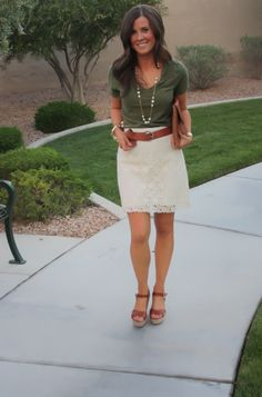 Ivory Lace Skirt, Pearl Neckalce, Wedge Sandals, Cognac Clutch, Madewell, Banana Republic, J.Crew, Michael Kors 6