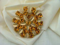 Vintage Gold Rhinestone Brooch Sara Cov by vintagemarbles on Etsy, $12.00