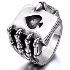 Ace of Spades Dragon Claw Ring