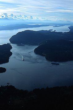 BC Ferries in Active Pass, between Mayne Island and Galiano Island, Gulf Islands, Georgia Strait, British Columbia, Canada