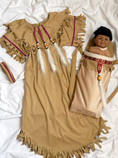Native American Girl Indian  Dress & Papoose