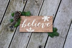 Believe  Christmas Sign  Wood Sign by PaperandPineCo on Etsy