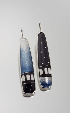Steel Blue Cloisonne Enamel Earrings by Jan Van Diver: Enameled Earrings available at www.artfulhome.com