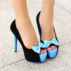 Black and baby blue open toe platform stiletto pumps with baby blue bows