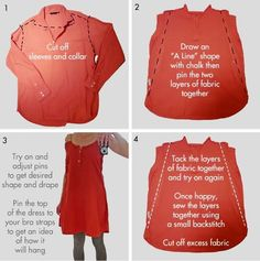 DIY dress from a large men's shirt and--or button up