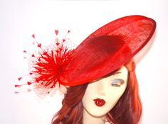 Red Fascinator Hat Kentucky Derby Hat Royal by MadameMerrywidow, $75.00