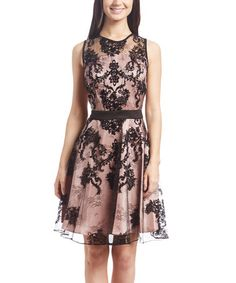 Another great find on #zulily! Black & Dust Pink Lace Overlay A-Line Dress #zulilyfinds (Danny and Nicole)