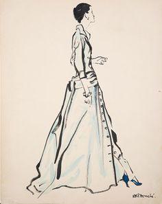 René Bouché (1905 - 1963) Original Fashion Illustration for Caudbeard & American Vogue 1950, Ink & Watercolour, signed 62 x 48 cms £4,500