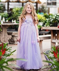 Just Couture Lavender Floral Azalea Gown - Toddler & Girls Cute Outfits For Kids, Toddler Girl Outfits, Toddler Girls, Bridesmaid Dresses, Prom Dresses, Formal Dresses, Floral Gown, Easter Dress, Wedding Attire