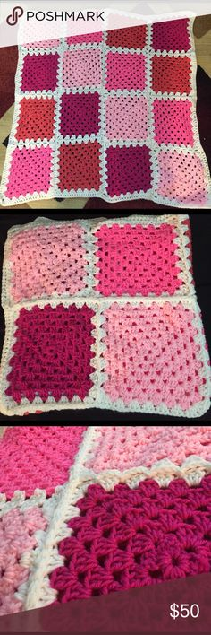 """Baby girl homemade multi colored pink Afghan This beautiful blanket /Afghan is homemade by me . Made of acrylic yarn and different shades of pink . Measures approximately 36"""" x36"""" . Pet free and smoke free home . Ready for immediate shipping . All reasonable offers will be considered and accepted . homemade by salisha  Other"""