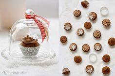 Weihnachtliche Lebkuchen-Cupcakes mit Schoko-Sahne