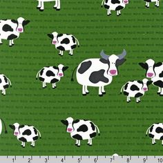 Fat Quarter Barnyard Counting Cows Moo on Green by by ShuShuStyle, $3.50  https://www.etsy.com/listing/188301226/fat-quarter-barnyard-counting-cows-moo?ref=listing-21