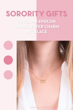 Sorority charm necklaces are the easiest gift for any celebration: Recruitment, Bid Day, Back to School & Big/Little. Spoil your new sorority girl with our simple and dainty Greek letter charm necklace! Delta Phi Epsilon Gifts   Delta Phi Epsilon Bid Day   DPhiE Necklace   Delta Phi Epsilon Jewelry   Sorority Bid Day & Recruitment   Sorority Jewelry Gifts   Sorority College Gift   Sorority New Member Gift Ideas   Dainty Jewelry   Simple Gold Charm Necklace #SororityGifts #SororityJewelry