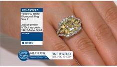 2.01 ct Yellow Diamond & 1.03 ctw Diamond Ring Size 7  If you love being surrounded by exquisite jewelry then this is your dream destination. Gem Shopping Network is the most exquisite viewing experience on TV. Now available on live streaming and on apps.