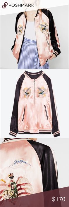 """Final $ Zara Reversible Bomber Amazing and reversible. So detailed and ornate. Luxe all the way! Birds in flight on front. The back has a scenic geisha Mount Fuji vignette. Pink stripe on sleeve. Reverse is black and ivory. S: 22"""" underarm to underarm and 23.75"""" L. M (NWOT): 22.5"""" underarm to underarm and 25"""" L Zara Jackets & Coats"""