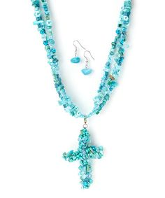 Another great find on #zulily! Turquoise Bead Cluster Cross Pendant Necklace & Drop Earrings #zulilyfinds