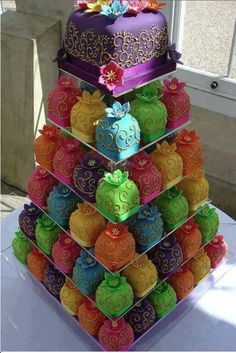 "colorful wedding ""cake"""
