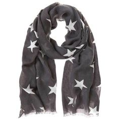 Silver Grey Star Scarf ($60) ❤ liked on Polyvore featuring accessories, scarves, long shawl, long scarves, gray scarves, grey scarves and silver scarves