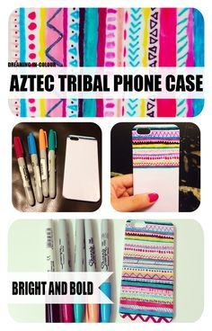diy aztec tribal phone case with sharpie markers and nail polish