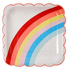 Meri Meri Unicorn & Rainbow Large Plate 12 per pack from Ocado