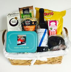 A cute little gift basket for the train spotter in your life! Gift Baskets For Him, Sticky Toffee, Ginger Beer, Train Set, Little Gifts, Lunch Box, Cool Stuff, Life, Salt Water Taffy