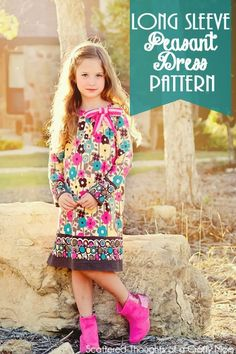 Free Long Sleeve Peasant Dress Pdf Pattern in sizes 12/18 mo to 8.