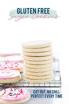 Cut out no chill Gluten Free Frosted Sugar Cookies are a must-make. Frost them and top them with spr Dairy Free Sugar Cookies, Soft Frosted Sugar Cookies, Dessert Sans Gluten, Gluten Free Sugar Cookies, Easy Gluten Free Desserts, Sugar Cookie Frosting, Best Gluten Free Recipes, Sugar Cookies Recipe, Gluten Free Baking