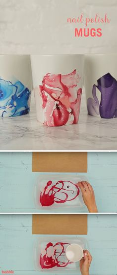 These beautiful DIY Nail Polish Mugs are perfect as personalized gifts or for your own home. And they're as easy to make as they are gorgeous. All you need for this mug hack are the following supplies: disposable container, nail polish, wood coffee stirrer or toothpick (optional), mug, sponge brush, and acrylic sealer.