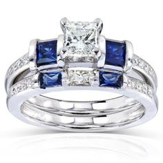 Blue Sapphire and Diamond Bridal Ring Set 1 1/4 Carat (ctw) in 14k White Gold_4.0