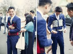 Chinese 'door game' fun! Traditionally the groom & his groomsmen have to undertake challenges set by the bridesmaids at the door of the bride's home to prove his love for her.