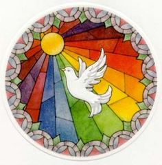 The Sacrament of Confirmation within the Catholic Church sees Pentecost as the Scriptural foundation (The New Theological Movement, In Acts on the day of Pentecost the Holy Spirit. Stained Glass Patterns, Stained Glass Art, Mosaic Art, Mosaic Glass, L'art Du Vitrail, Mandala, Première Communion, Christian Symbols, Spirited Art