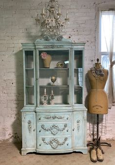 Painted Cottage Prairie Chic One of a Kind Vintage China Display Cabinet CC2069 Rose Cottage, Shabby Cottage, China Cabinet Display, Jewelry Hooks, Pink Chalk, Painted Cottage, Glass Knobs, Vintage China, Wood Construction