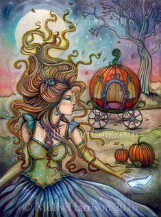 Cinderella - Fairy Tale Fantasy Art - Fine Art Giclee Print by Molly Harrison 5 x 7 - Fairytale, princess, artwork
