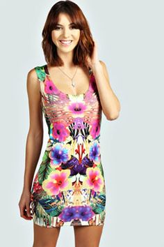 Sophie Tropical Floral Print Bodycon Dress at boohoo.com