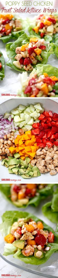 a MUST before winter! I was eating this filling straight from the fridge its SO GOOD!! Chicken and strawberries, mangos, cucumbers and avocado marinated and chilled in my favorite sweet, tangy poppy seed dressing topped with toasted coconut and macadamia nuts - sweet, creamy, crunchy and PACKED with flavor!