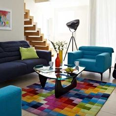 This Multi coloured Funk Rug is available in two sizes - View this stylish Funk Rug and our fabulous range of rugs online today at Barker and Stonehouse. Rainbow House, Barker And Stonehouse, Rugs Online, Colorful Rugs, Room Inspiration, Kids Room, Flooring, Living Room, Interior