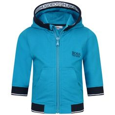 BOSS Baby Boys Turquoise Hooded Zip Up Top