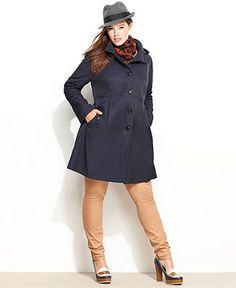 DKNY Plus Size Coat, Hooded Empire-Waist Raincoat - Plus Size Coats - Plus Sizes - Macy's