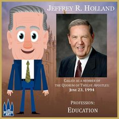 Elder Jeffrey R. Holland was ordained a member of the Quorum of the Twelve Apostles of The Church of Jesus Christ of Latter-day Saints on June 23, 1994. At the time of this call, Elder Holland was serving as a member of the First Quorum of the Seventy, to which he had been called on April 1, 1989.  .  .  #ElderHolland #ldsconf #lds #mormon #LDS #JesusChrist #Christian #quote #efy #sharegoodness