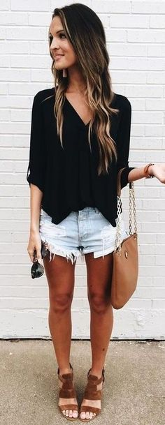 #summer #american #style | Black + Denim + Tan