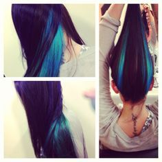 secret teal color streaks underneath hair layer