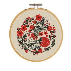 Strawberries Embroidery PDF Chart,  Modern Counted Cross Stitch Floral Design, Berry Cross Stitch Pattern, Red and Black Folk Art Xstitch