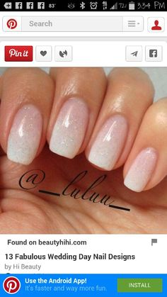 Cute French Nail Art : French Manicure Designs - T Glitter French Manicure, French Manicure Designs, Nail Manicure, Gel Nails, Ombre French Nails, Glitter Ombre Nails, Bridal Nails French, Pale Pink Nails, Bridal Nail Art