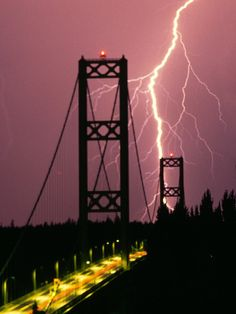 Tacoma Narrows Bridge getting hit by lightening.
